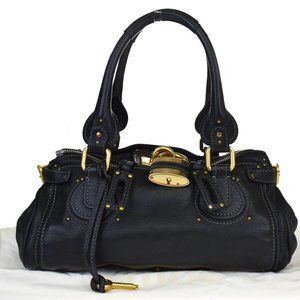 CHLOE Logos Paddington Shoulder Bag Leather Black